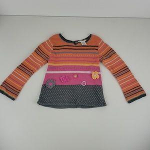 deux par deux girls orange and pink sweater size 5